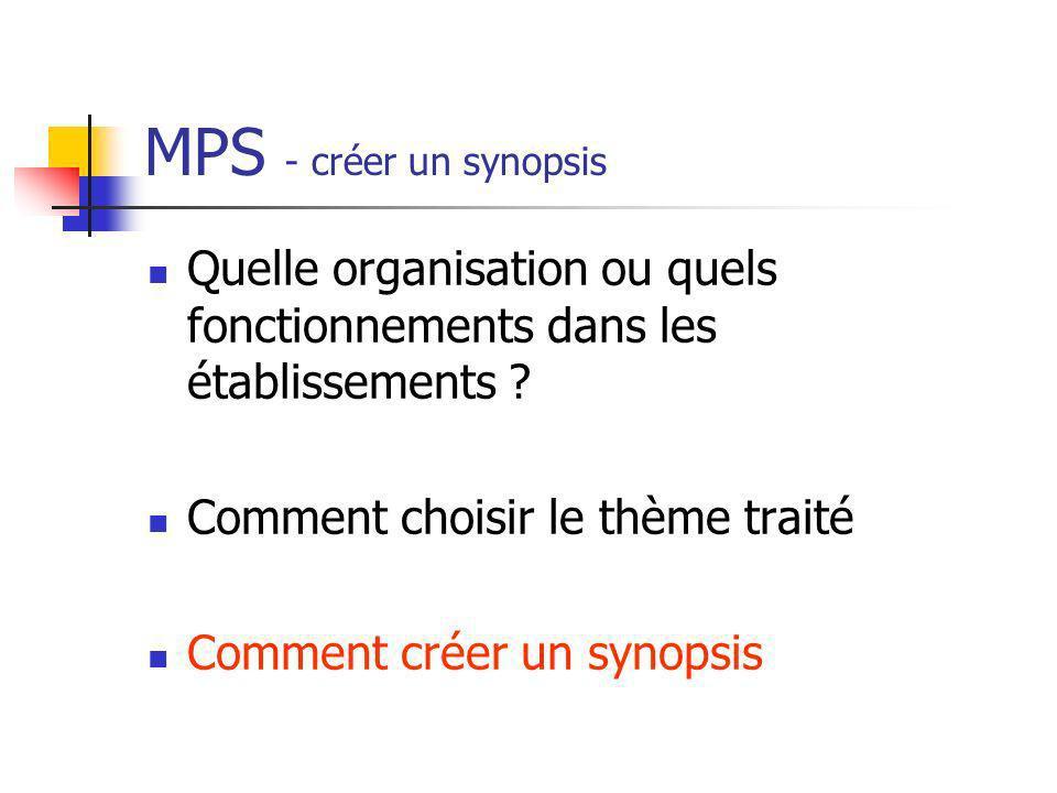 MPS - créer un synopsis Quelle organisation ou quels fonctionnements dans les établissements ? Comment choisir le thème traité Comment créer un synops