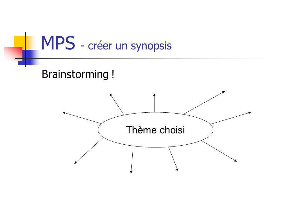 MPS - créer un synopsis Brainstorming ! Thème choisi
