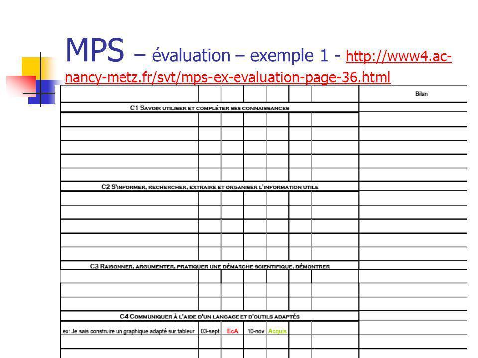 MPS – évaluation – exemple 1 - http://www4.ac- nancy-metz.fr/svt/mps-ex-evaluation-page-36.html http://www4.ac- nancy-metz.fr/svt/mps-ex-evaluation-pa