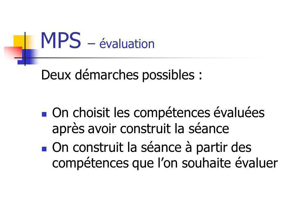 MPS – évaluation Deux démarches possibles : On choisit les compétences évaluées après avoir construit la séance On construit la séance à partir des co