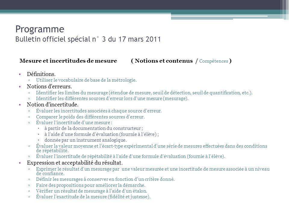 Programme Bulletin officiel spécial n° 3 du 17 mars 2011 Mesure et incertitudes de mesure ( Notions et contenus / Compétences ) Définitions. Utiliser
