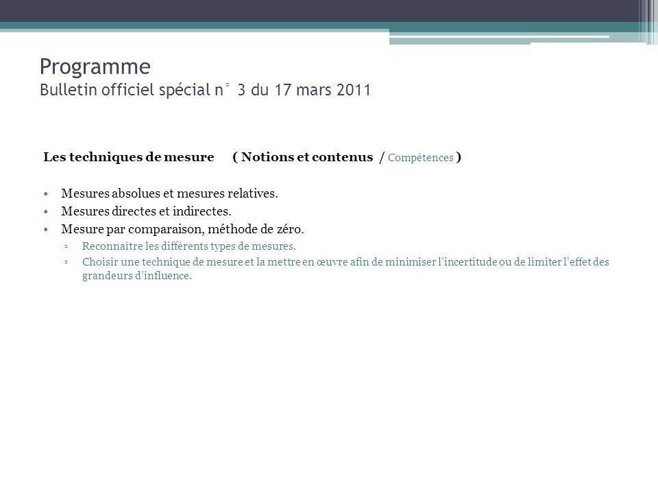 Programme Bulletin officiel spécial n° 3 du 17 mars 2011 Les techniques de mesure ( Notions et contenus / Compétences ) Mesures absolues et mesures re