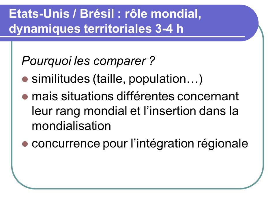 Etats-Unis / Brésil : rôle mondial, dynamiques territoriales 3-4 h Pourquoi les comparer ? similitudes (taille, population…) mais situations différent