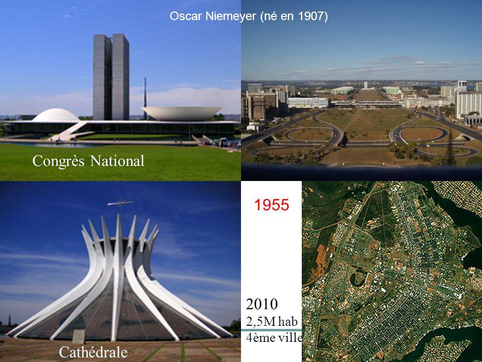 1955 2010 2,5M hab 4ème ville Congrès National Cathédrale Oscar Niemeyer (né en 1907)