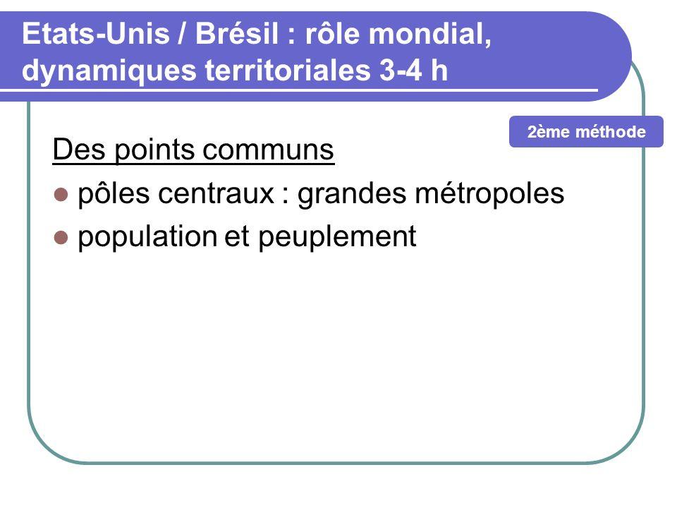 Etats-Unis / Brésil : rôle mondial, dynamiques territoriales 3-4 h Des points communs pôles centraux : grandes métropoles population et peuplement 2èm