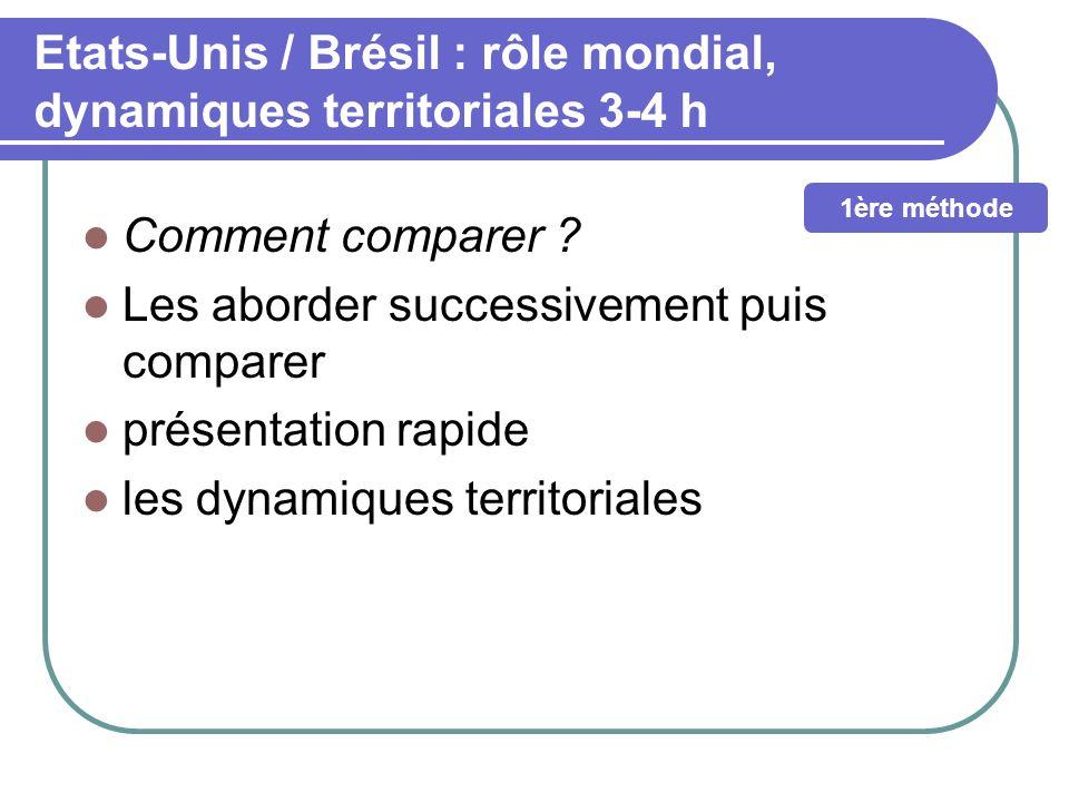 Etats-Unis / Brésil : rôle mondial, dynamiques territoriales 3-4 h Comment comparer ? Les aborder successivement puis comparer présentation rapide les