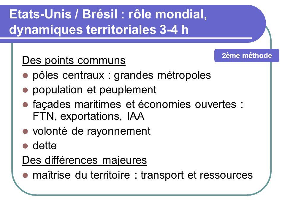 Etats-Unis / Brésil : rôle mondial, dynamiques territoriales 3-4 h Des points communs pôles centraux : grandes métropoles population et peuplement faç