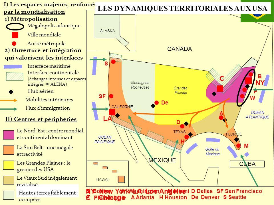 Le Nord-Est : centre mondial et continental dominant NY LA P W B De A M D H SF CANADA MEXIQUE CUBA HAWAI Grandes Plaines Montagnes Rocheuses OCEAN PAC