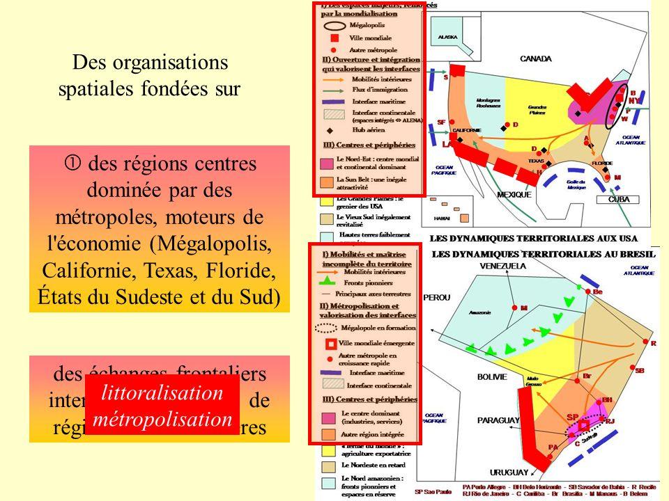 Des organisations spatiales fondées sur des échanges frontaliers intenses et émergence de régions transfrontalières des régions centres dominée par de