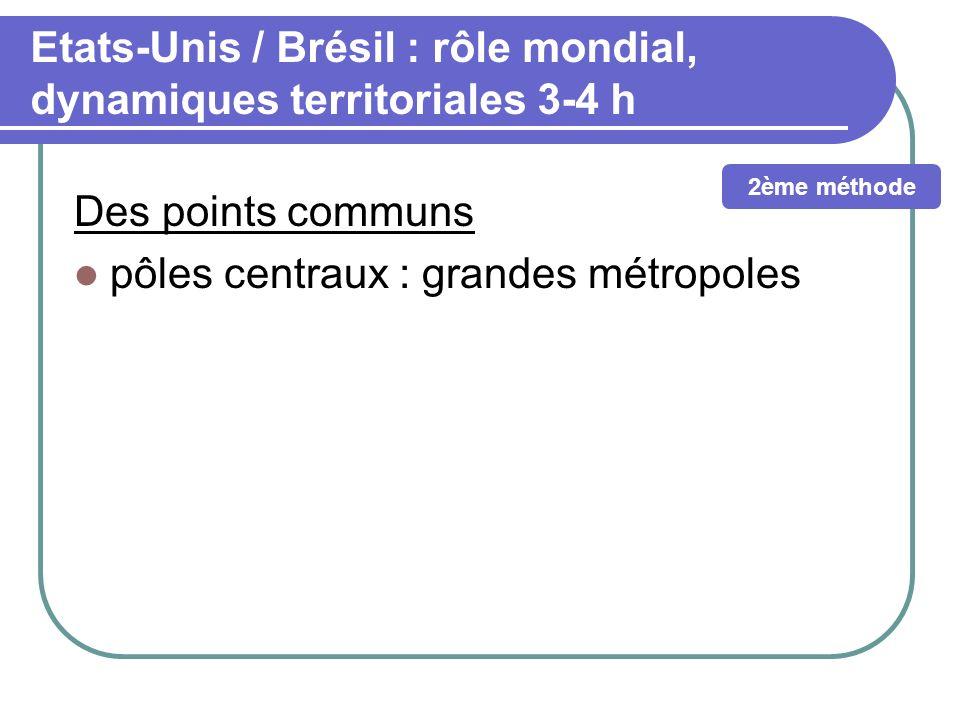 Etats-Unis / Brésil : rôle mondial, dynamiques territoriales 3-4 h Des points communs pôles centraux : grandes métropoles 2ème méthode