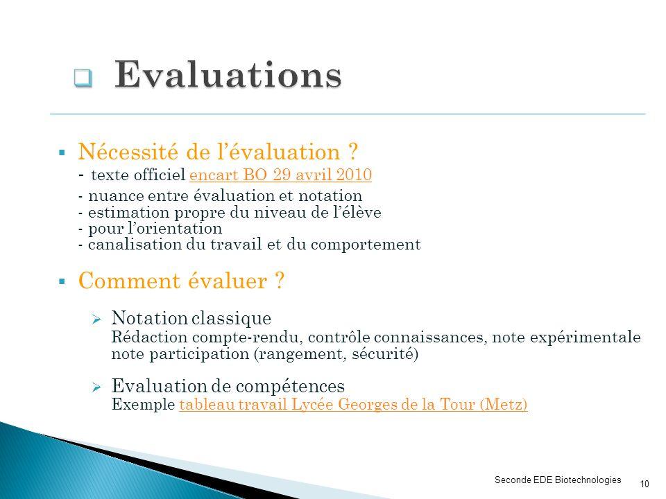 Seconde EDE Biotechnologies Nécessité de lévaluation ? - texte officiel encart BO 29 avril 2010encart BO 29 avril 2010 - nuance entre évaluation et no
