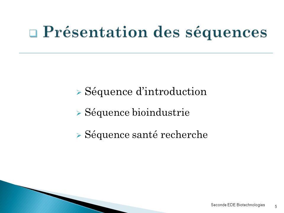 Séquence dintroduction Séquence bioindustrie Séquence santé recherche Seconde EDE Biotechnologies 5