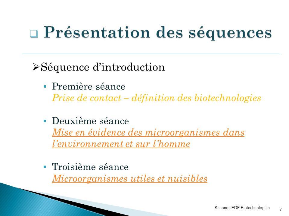 Première séance Prise de contact – définition des biotechnologies Deuxième séance Mise en évidence des microorganismes dans lenvironnement et sur lhom