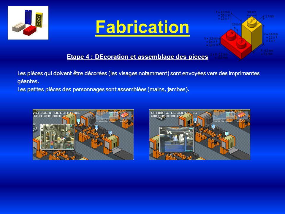 Fabrication Etape 4 : DEcoration et assemblage des pieces Les pièces qui doivent être décorées (les visages notamment) sont envoyées vers des impriman