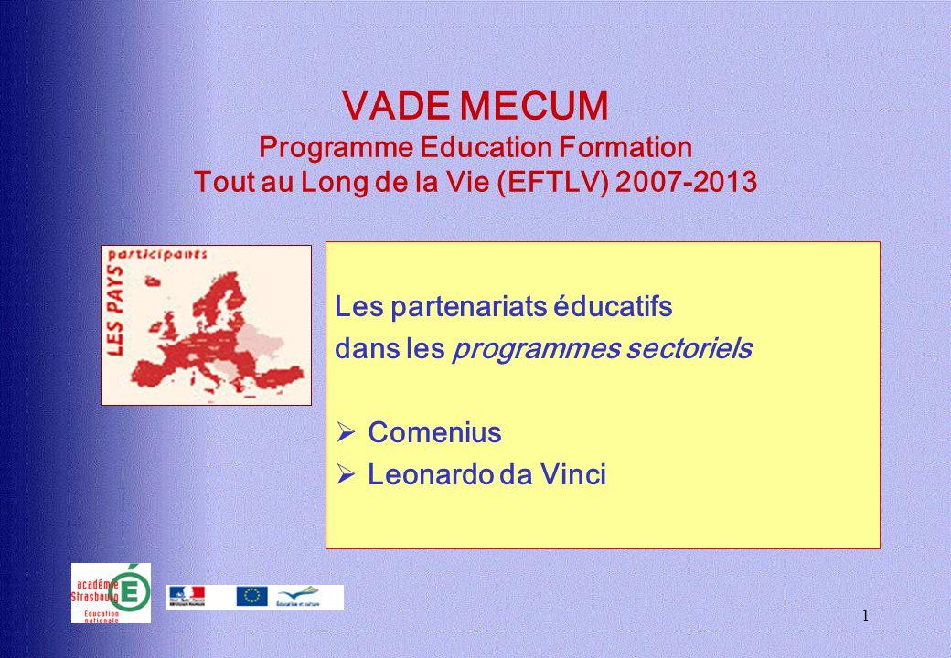1 VADE MECUM Programme Education Formation Tout au Long de la Vie (EFTLV) 2007-2013 Les partenariats éducatifs dans les programmes sectoriels Comenius