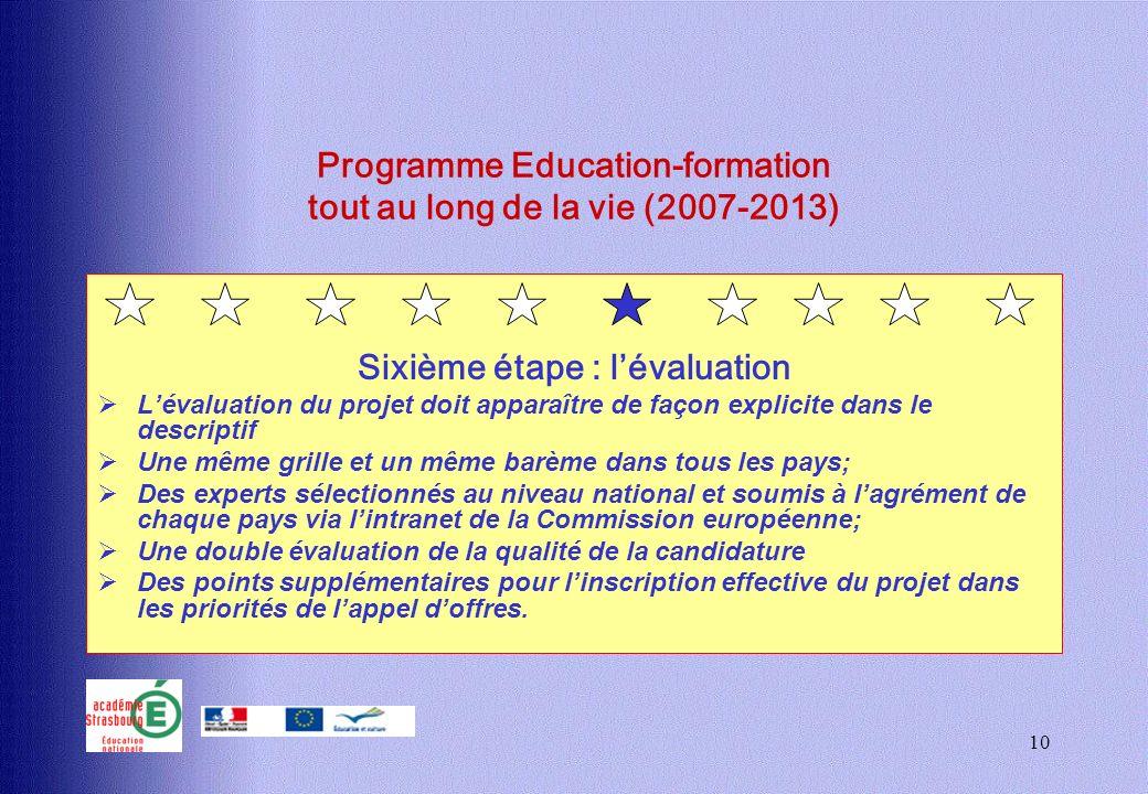 10 Programme Education-formation tout au long de la vie (2007-2013) Sixième étape : lévaluation Lévaluation du projet doit apparaître de façon explici