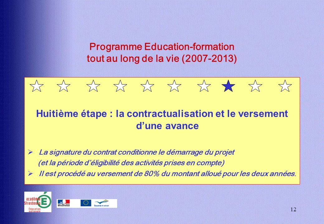 12 Programme Education-formation tout au long de la vie (2007-2013) Huitième étape : la contractualisation et le versement dune avance La signature du