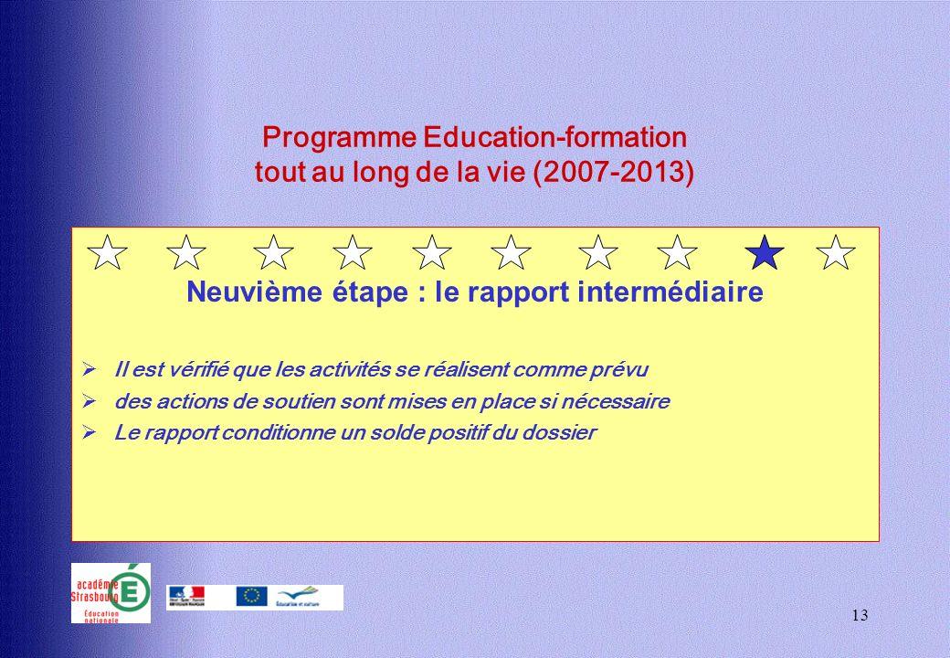 13 Programme Education-formation tout au long de la vie (2007-2013) Neuvième étape : le rapport intermédiaire Il est vérifié que les activités se réal