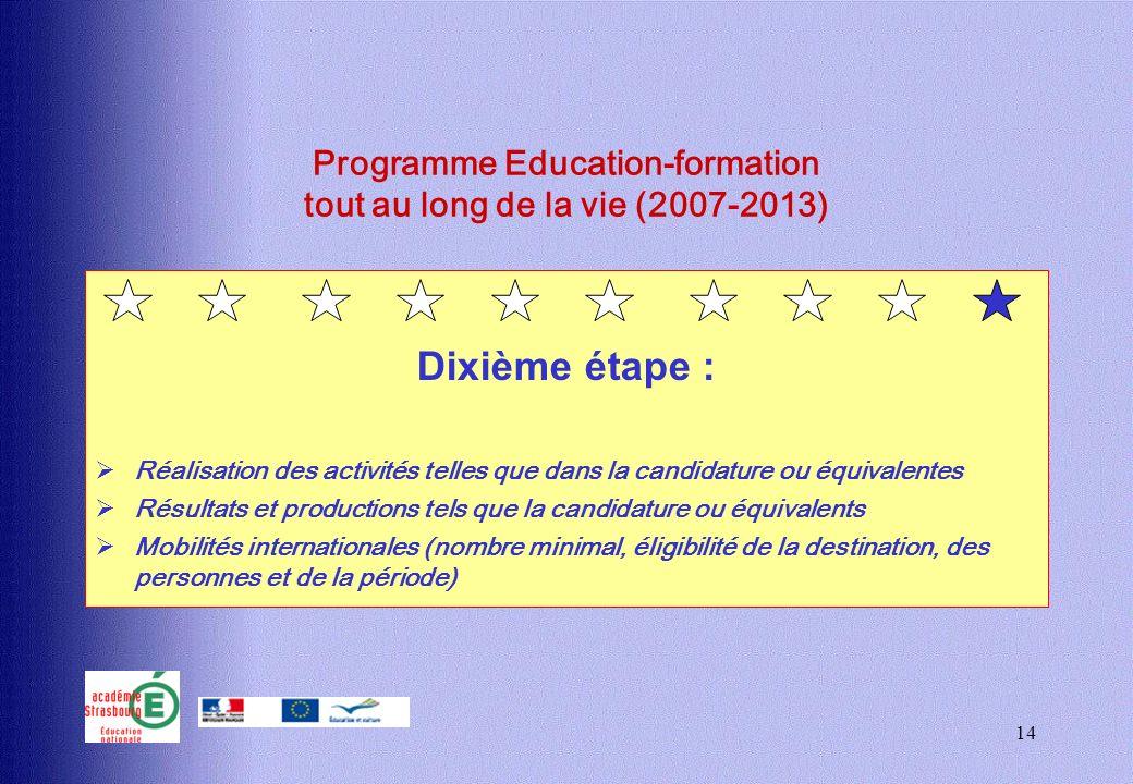 14 Programme Education-formation tout au long de la vie (2007-2013) Dixième étape : Réalisation des activités telles que dans la candidature ou équiva