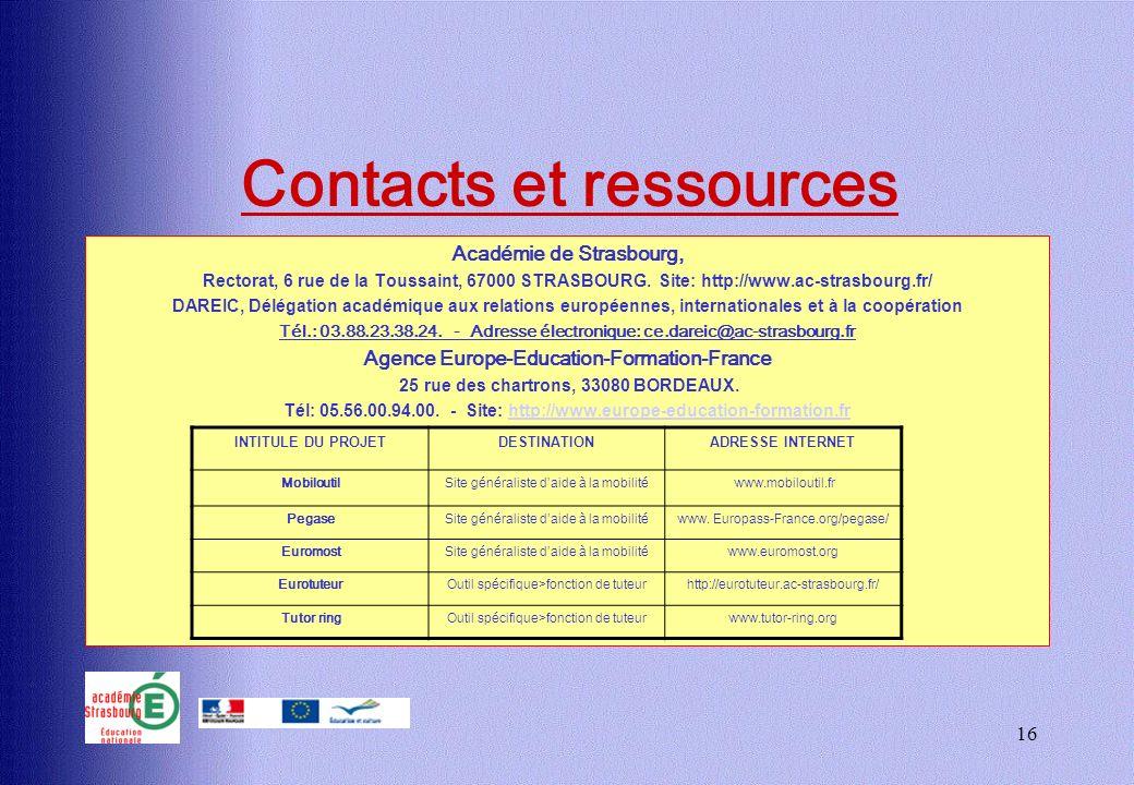 16 Contacts et ressources Académie de Strasbourg, Rectorat, 6 rue de la Toussaint, 67000 STRASBOURG. Site: http://www.ac-strasbourg.fr/ DAREIC, Déléga
