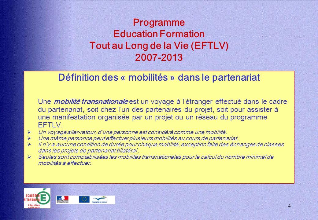 4 Programme Education Formation Tout au Long de la Vie (EFTLV) 2007-2013 Définition des « mobilités » dans le partenariat Une mobilité transnationale