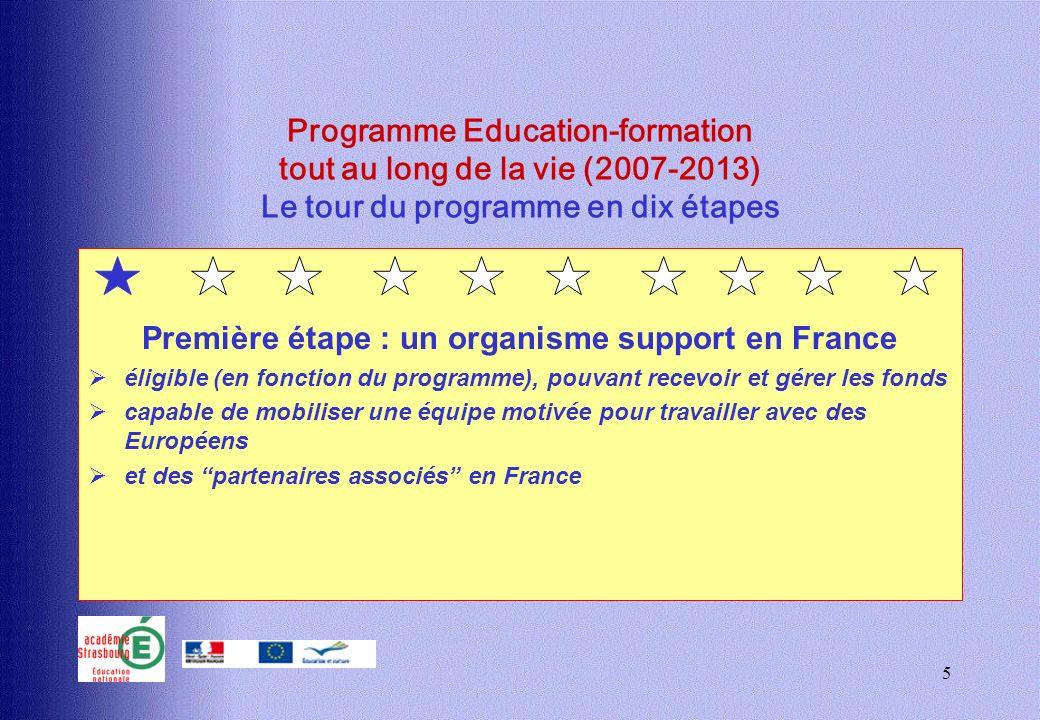 5 Programme Education-formation tout au long de la vie (2007-2013) Le tour du programme en dix étapes Première étape : un organisme support en France