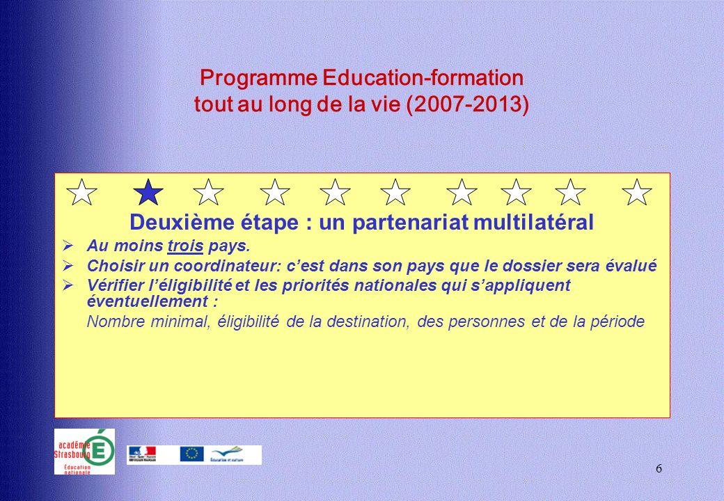 6 Programme Education-formation tout au long de la vie (2007-2013) Deuxième étape : un partenariat multilatéral Au moins trois pays. Choisir un coordi