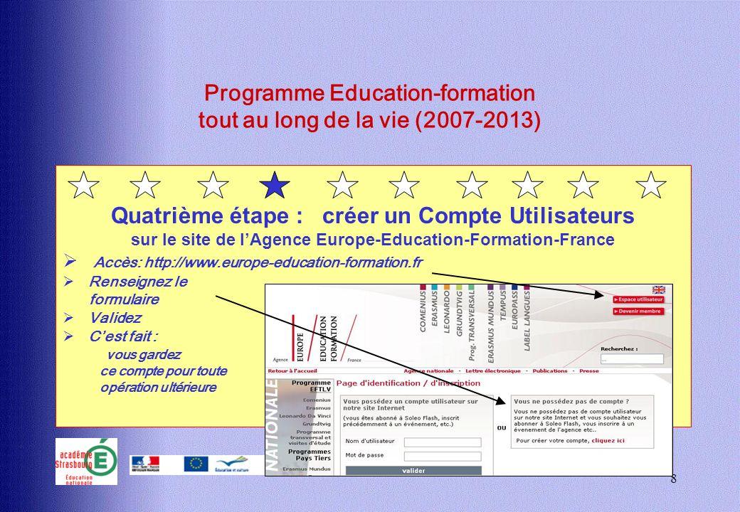 8 Programme Education-formation tout au long de la vie (2007-2013) Quatrième étape : créer un Compte Utilisateurs sur le site de lAgence Europe-Educat