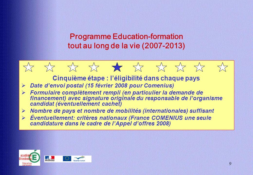 9 Programme Education-formation tout au long de la vie (2007-2013) Cinquième étape : léligibilité dans chaque pays Date denvoi postal (15 février 2008