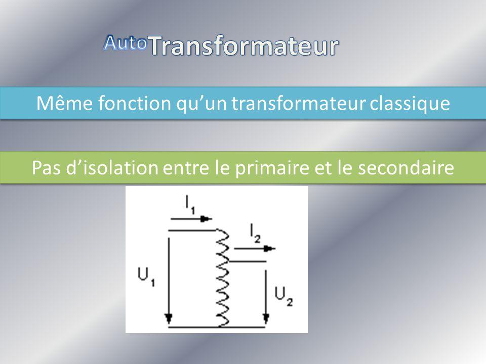Même fonction quun transformateur classique Même fonction quun transformateur classique Pas disolation entre le primaire et le secondaire Pas disolati