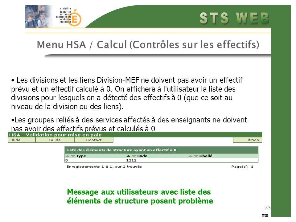 Diapo précédente Diapo suivante 25 Menu HSA / Calcul (Contrôles sur les effectifs) Les divisions et les liens Division-MEF ne doivent pas avoir un effectif prévu et un effectif calculé à 0.