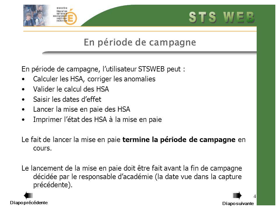 Diapo précédente Diapo suivante 5 Hors période de campagne Hors période de campagne, lutilisateur STSWEB peut seulement: Calculer les HSA, corriger les anomalies Imprimer létat des HSA à la mise en paie de la campagne précédente (STSWEB v2) Les temps hors période de campagne permettent de préparer les données en vue de la phase de campagne à venir.