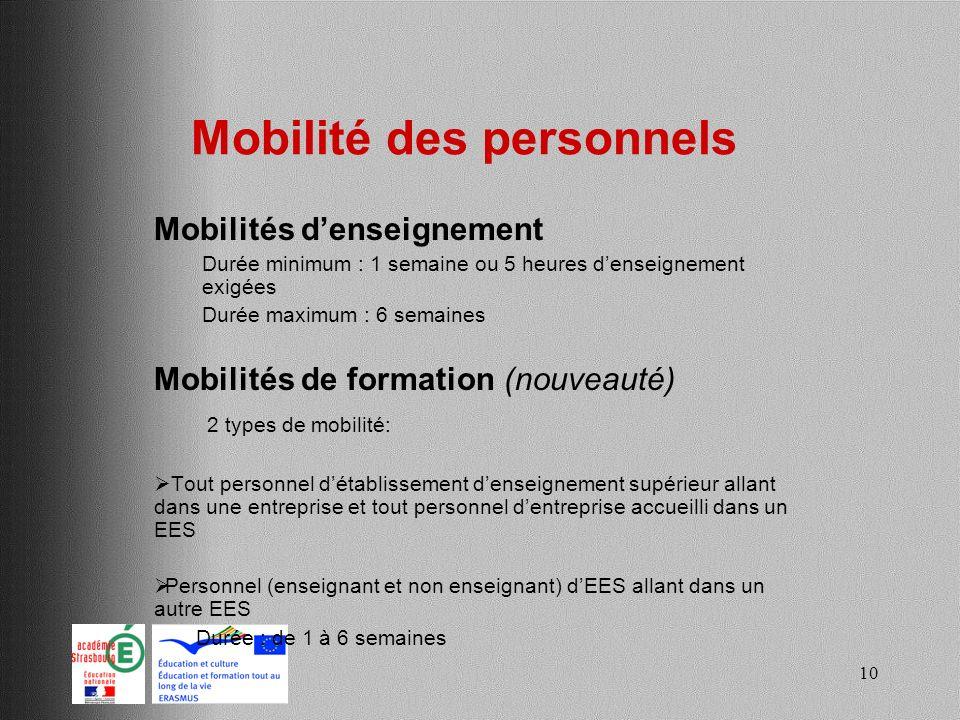 10 Mobilité des personnels Mobilités denseignement Durée minimum : 1 semaine ou 5 heures denseignement exigées Durée maximum : 6 semaines Mobilités de
