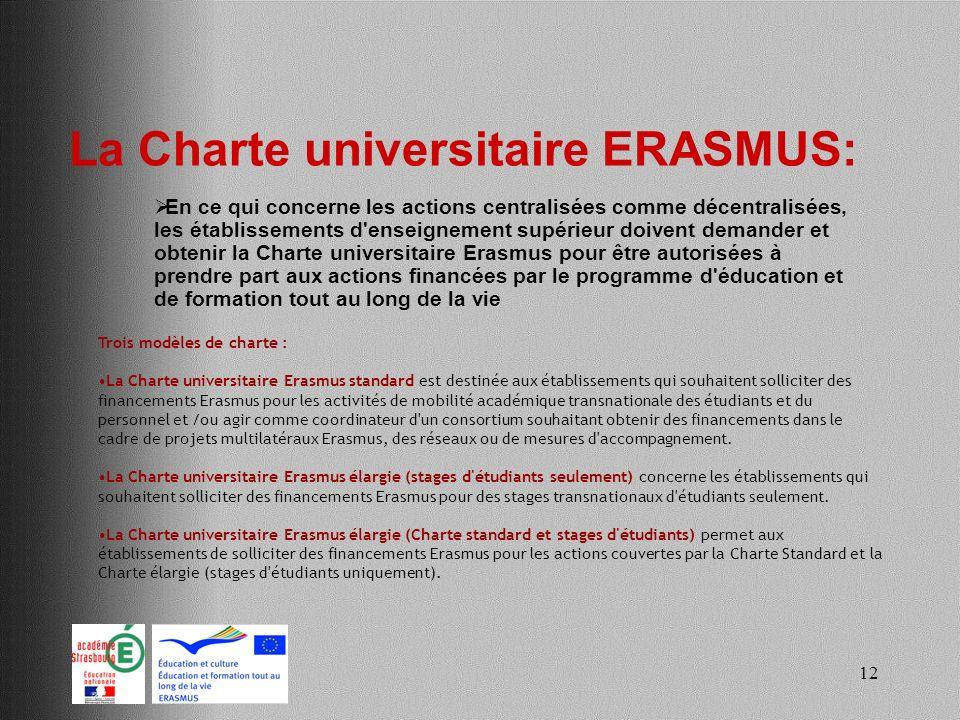 12 La Charte universitaire ERASMUS: En ce qui concerne les actions centralisées comme décentralisées, les établissements d'enseignement supérieur doiv