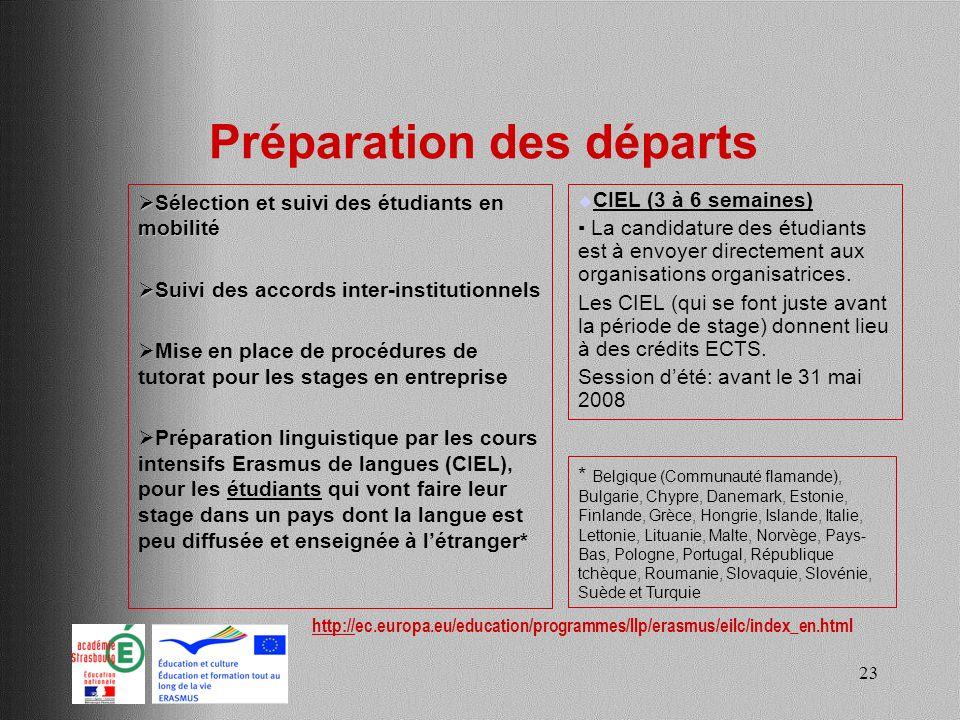 23 Préparation des départs Sélection et suivi des étudiants en mobilité Sélection et suivi des étudiants en mobilité Suivi des accords inter-instituti
