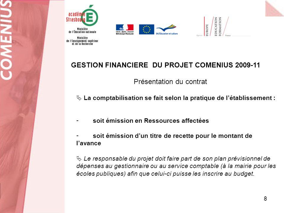 9 Réalisation des dépenses liées aux mobilités GESTION FINANCIERE DU PROJET COMENIUS 2009-11 Dans le cadre des projets européens, les déplacements des personnels des établissements publics seffectuent selon la législation publique française.