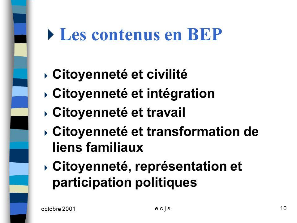 octobre 2001 e.c.j.s.10 Les contenus en BEP Citoyenneté et civilité Citoyenneté et intégration Citoyenneté et travail Citoyenneté et transformation de