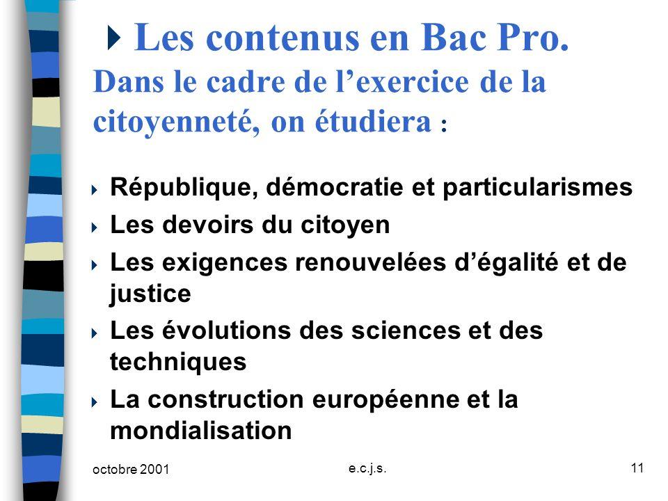 octobre 2001 e.c.j.s.11 Les contenus en Bac Pro. Dans le cadre de lexercice de la citoyenneté, on étudiera : République, démocratie et particularismes