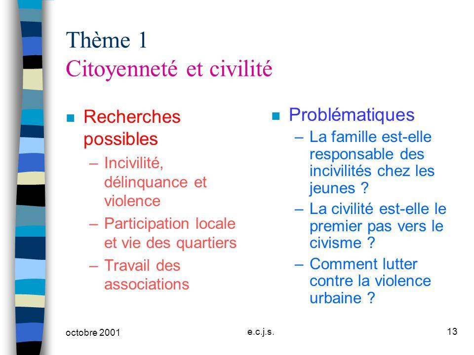 octobre 2001 e.c.j.s.13 Thème 1 Citoyenneté et civilité n Recherches possibles –Incivilité, délinquance et violence –Participation locale et vie des q