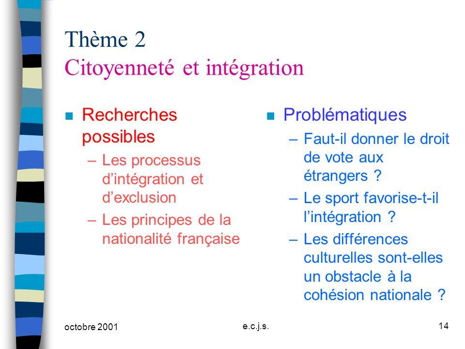 octobre 2001 e.c.j.s.14 Thème 2 Citoyenneté et intégration n Recherches possibles –Les processus dintégration et dexclusion –Les principes de la natio