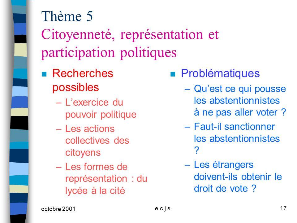 octobre 2001 e.c.j.s.17 Thème 5 Citoyenneté, représentation et participation politiques n Recherches possibles –Lexercice du pouvoir politique –Les ac