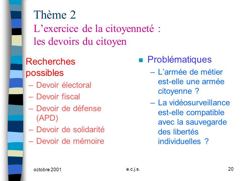 octobre 2001 e.c.j.s.20 Thème 2 Lexercice de la citoyenneté : les devoirs du citoyen n Recherches possibles –Devoir électoral –Devoir fiscal –Devoir d