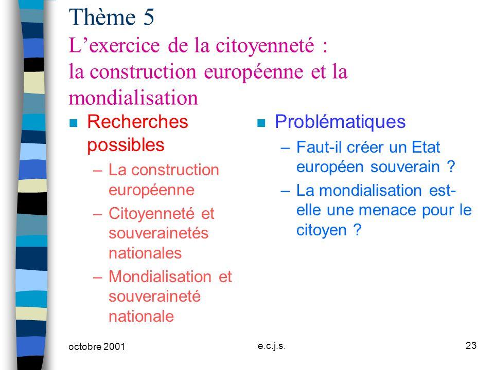 octobre 2001 e.c.j.s.23 Thème 5 Lexercice de la citoyenneté : la construction européenne et la mondialisation n Recherches possibles –La construction