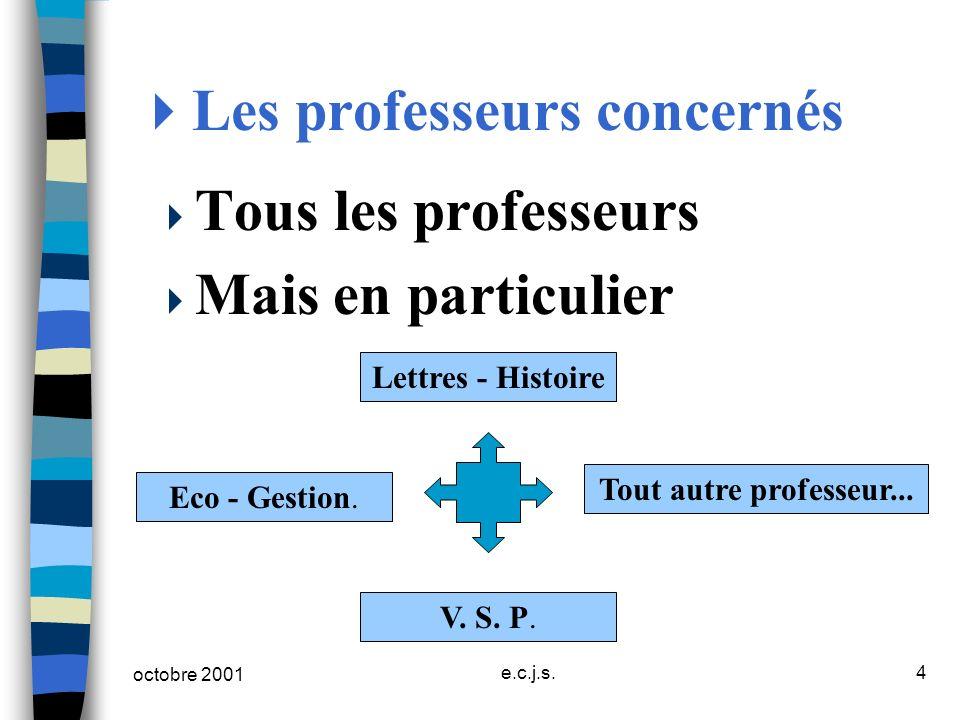 octobre 2001 e.c.j.s.4 Les professeurs concernés Tous les professeurs Mais en particulier Lettres - Histoire V. S. P. Eco - Gestion. Tout autre profes