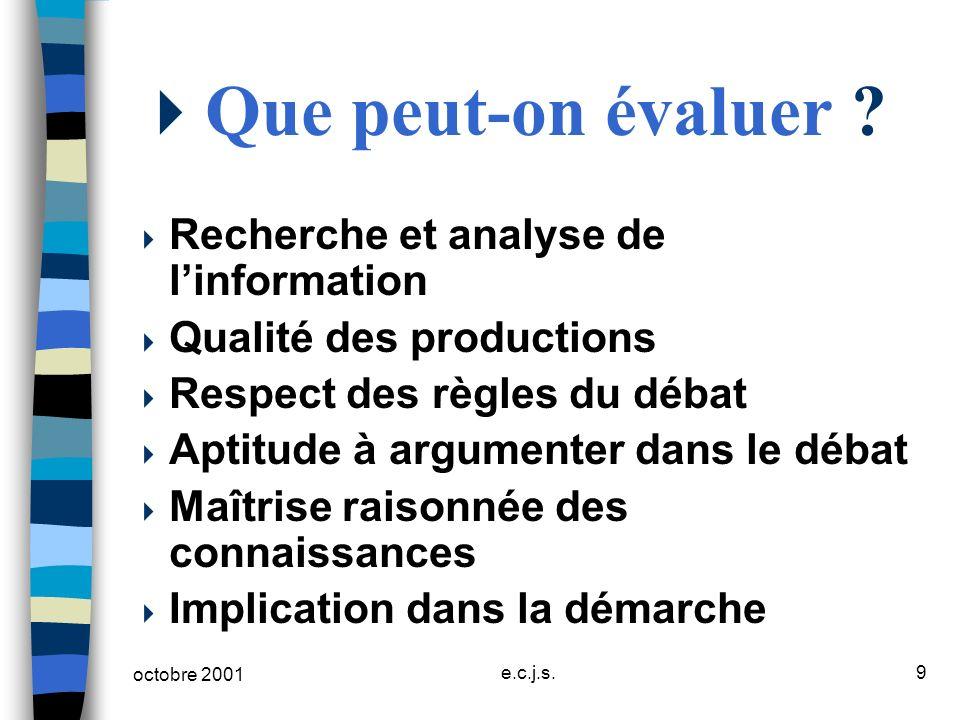 octobre 2001 e.c.j.s.9 Que peut-on évaluer ? Recherche et analyse de linformation Qualité des productions Respect des règles du débat Aptitude à argum