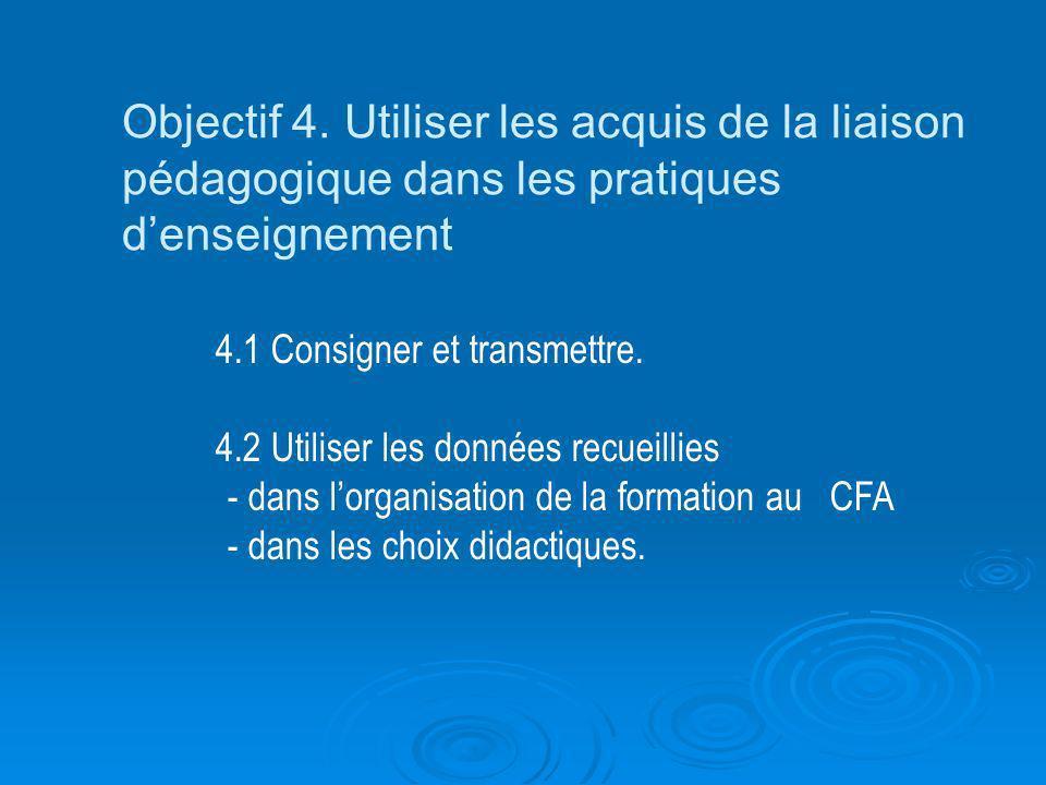 Objectif 4. Utiliser les acquis de la liaison pédagogique dans les pratiques denseignement 4.1 Consigner et transmettre. 4.2 Utiliser les données recu