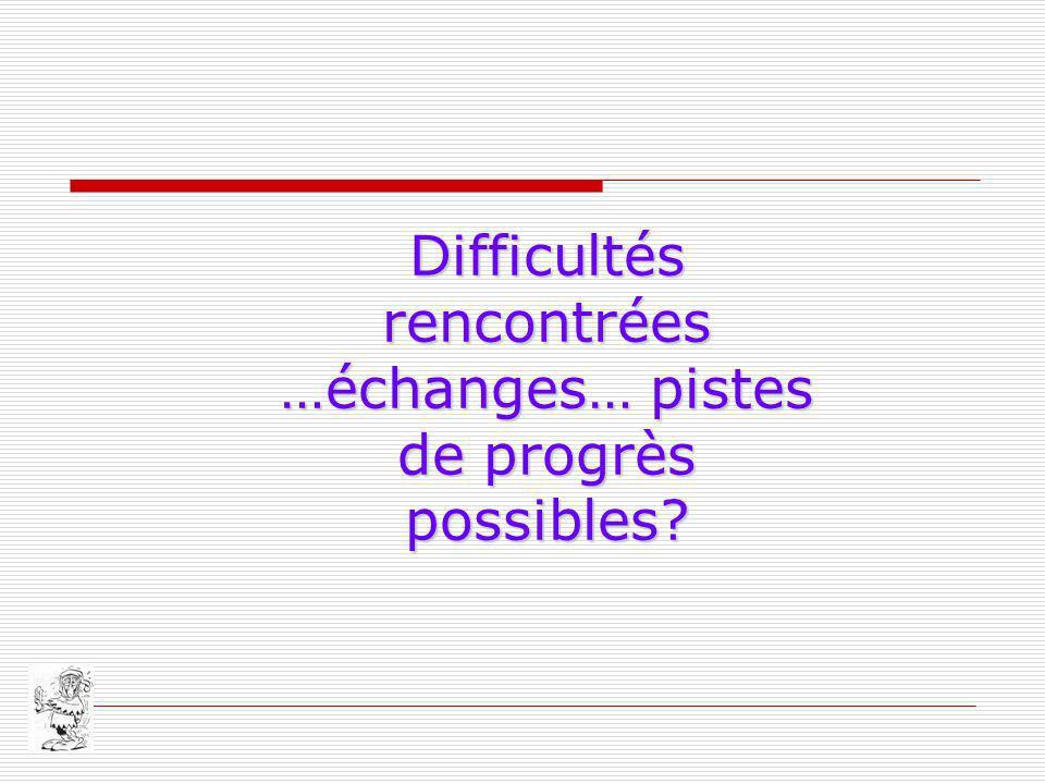 Difficultés rencontrées …échanges… pistes de progrès possibles?