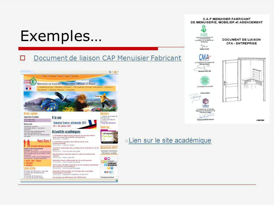 Exemples… Document de liaison CAP Menuisier Fabricant Lien sur le site académique