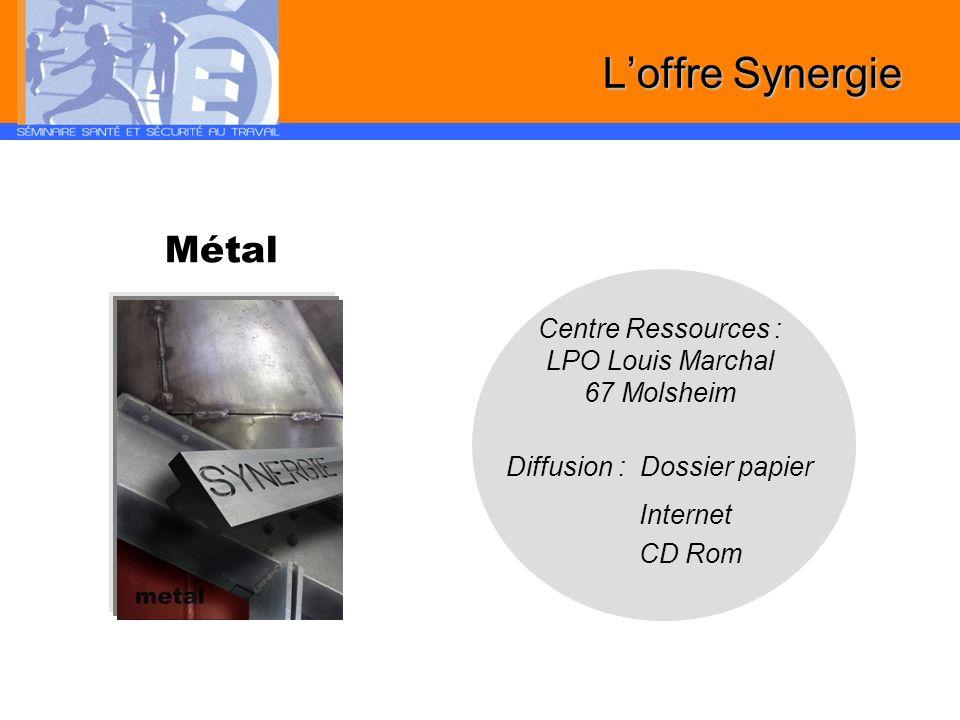 Métal Centre Ressources : LPO Louis Marchal 67 Molsheim Diffusion : Dossier papier Internet CD Rom Loffre Synergie