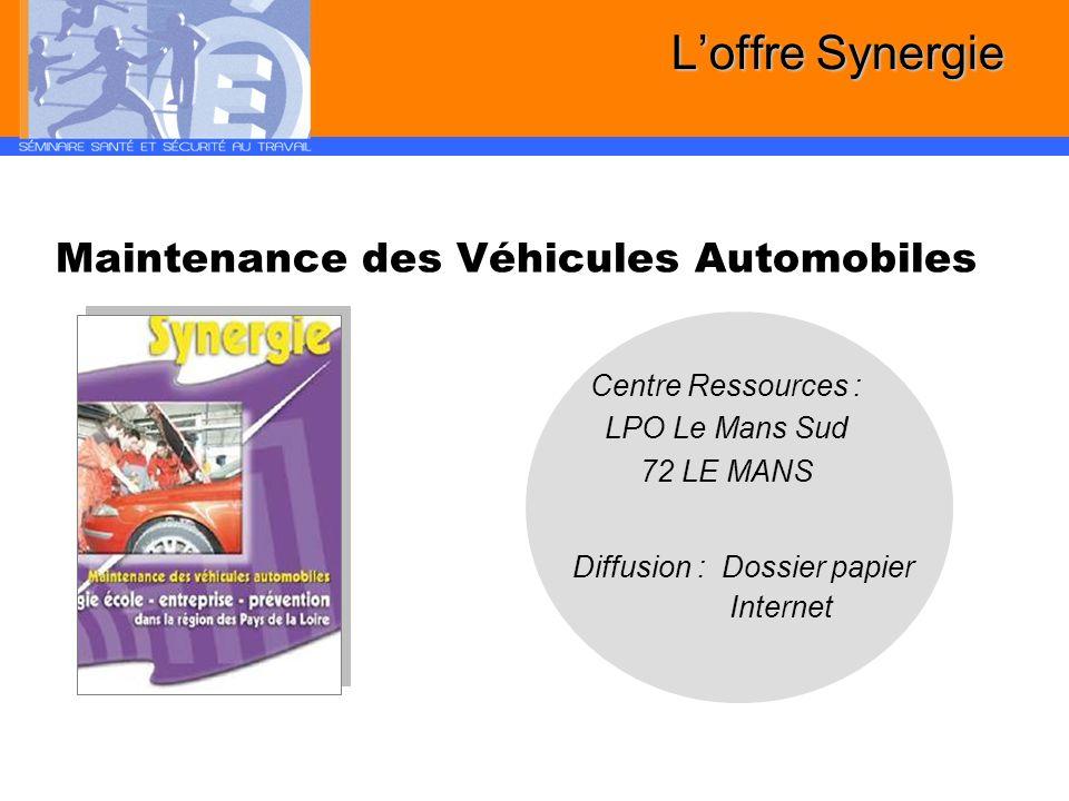 Maintenance des Véhicules Automobiles Diffusion : Dossier papier Internet Loffre Synergie Centre Ressources : LPO Le Mans Sud 72 LE MANS